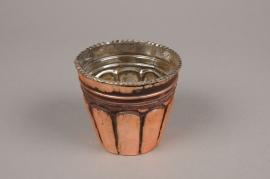 A067ZG Photophore en verre cuivre D10cm H9cm
