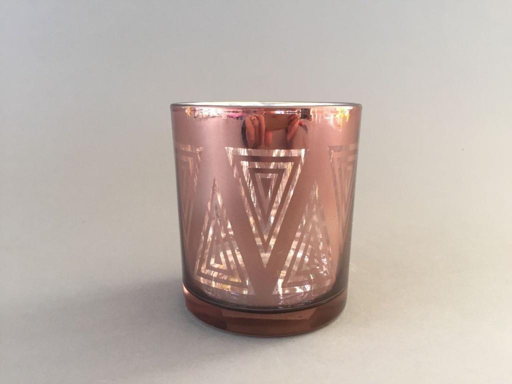A006G1 Photophore en verre cuivre D8cm H9cm