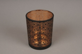 A006P5 Copper and black glass light holder D10cm H12.5cm