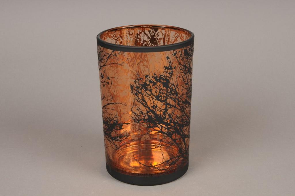A031P5 Photophore en verre cuivre et noir D12cm H18cm