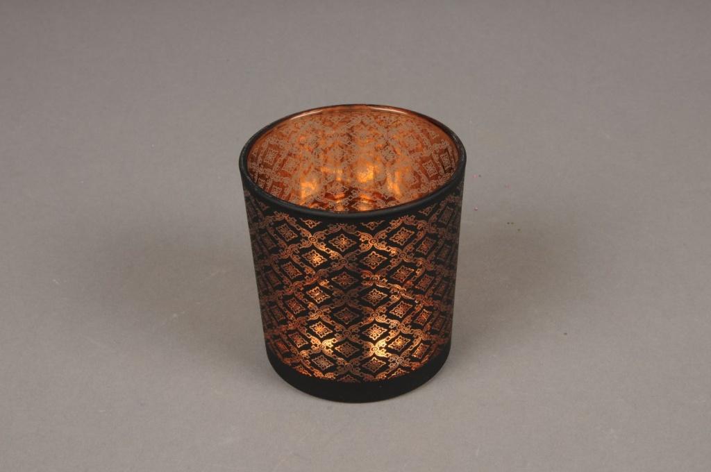 A016P5 Photophore en verre cuivre et noir D7.5cm H8cm