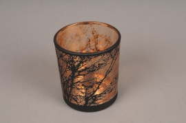 A029P5 Copper and black glass light holder D9cm H10cm