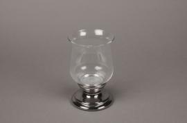 C041DQ Photophore en verre D13cm H20cm