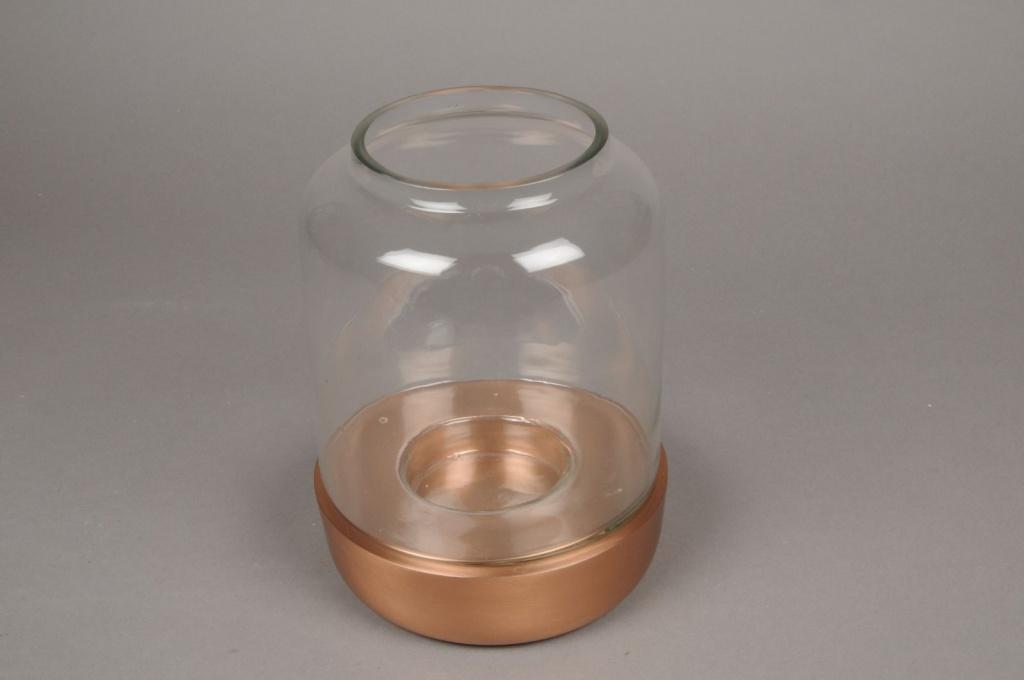 A026E6 Photophore en verre D16.5cm H22cm