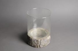 A572UO Photophore en verre et résine effet bois D18cm H27cm