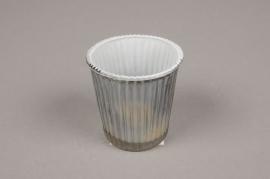 A072ZG Photophore en verre gris D6.5cm H7cm