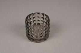 A219IH Photophore en verre gris D7cm H6.5cm