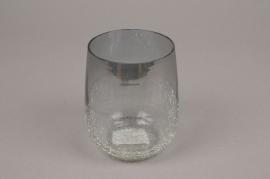 A061ZG Photophore en verre gris D8cm H12cm