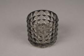 A220IH Photophore en verre gris D9cm H8.5cm