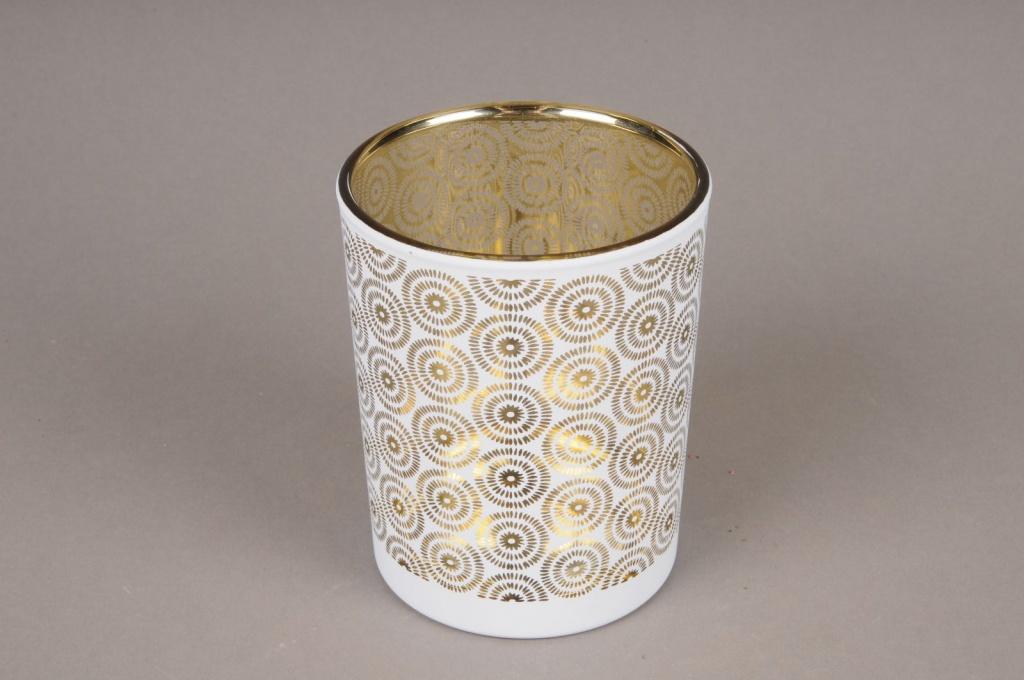 A010P5 Photophore en verre or et blanc D10cm H12.5cm