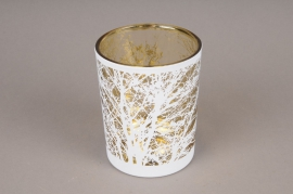 A034P5 Gold and white glass light holder D10cm H12.5cm