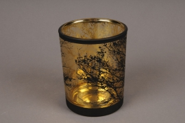 A026P5 Gold and black glass light holder D10cm H12.5cm