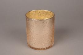 B166LE Photophore en verre rose sablé D10cm H12cm