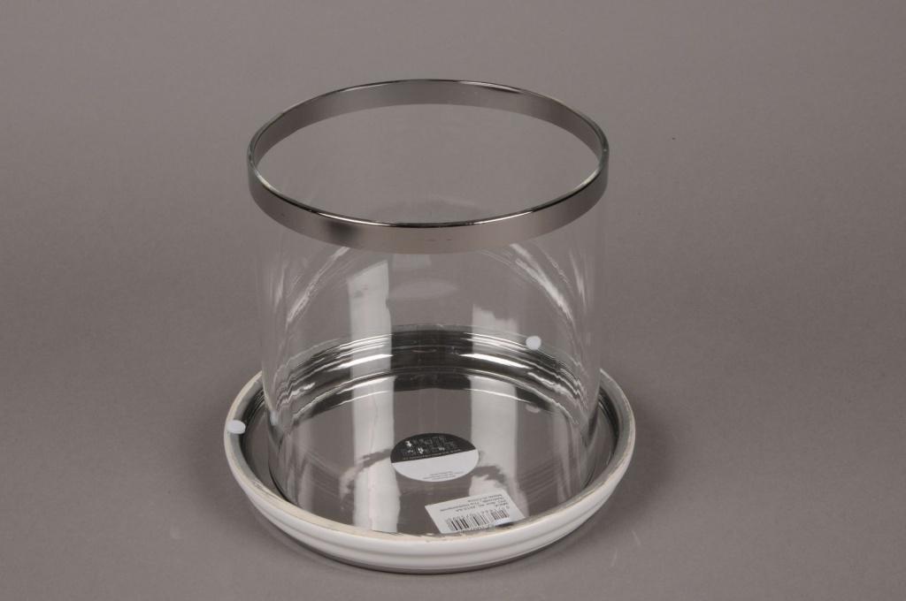 C038DQ Photophore en verre sur socle blanc D15cm H17.5cm