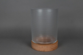 Glass candle holder with wooden stand D20 H28cm