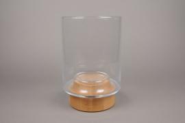 B396W3 Photophore en verre sur socle en bois D21cm H33cm