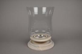 A546UO Photophore en verre sur socle en bois D23cm H34cm