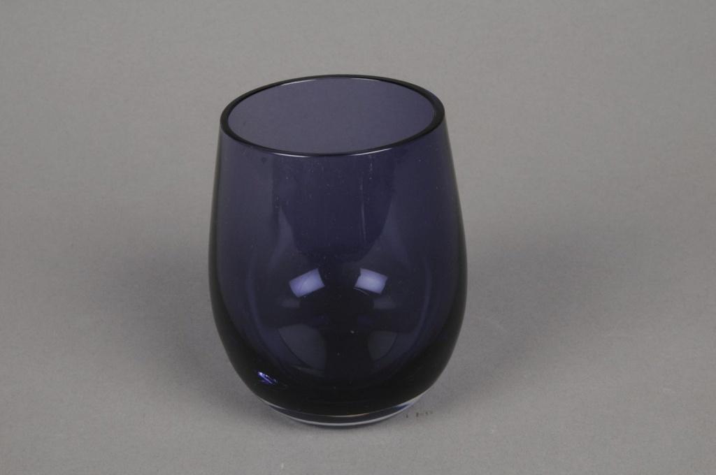 B266W3 Photophore en verre violet D7cm H10cm