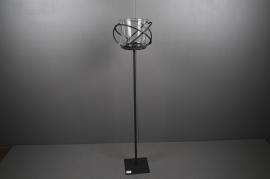 A001ZV Photophore sur pied en métal noir H120cm