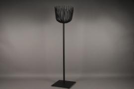 Black metal stemmed light holder H165cm