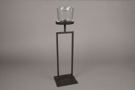 A025ZV Photophore sur pied en métal noir H40cm