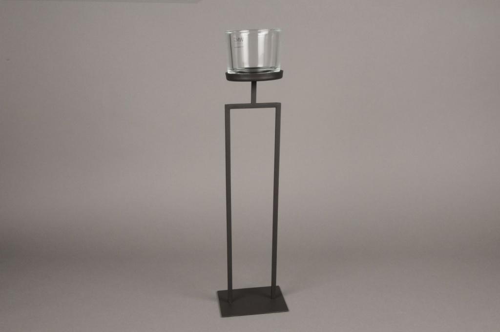 A024ZV Photophore sur pied en métal noir H50cm