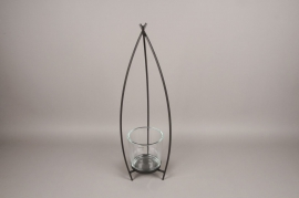 Black metal stemmed light holder H70cm