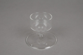 A006QJ Stemmed glass candle holder diameter 7cm height 6cm