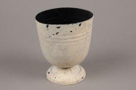 A043Q4 Pinkish white zinc pot D10cm H12cm