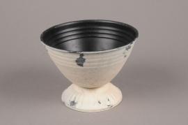 A045Q4 Pinkish white zinc pot D14cm H10.5cm