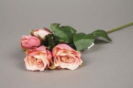 x514jp Piquet de roses artificielles rose H40cm