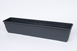 Plastic flower box anthracite 50x17x16cm