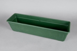 Plastic flower box green 60x17x16cm