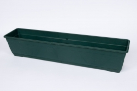 Plastic flower box green 80x17x16cm