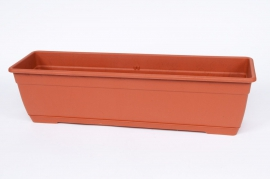 Plastic flower box terracotta 80x17x16cm