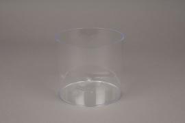 A010R2 Plastic vase cylinder clear D12.5cm H12.5cm