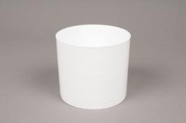 A017R2 Plastic vase cylinder white D9cm H8cm