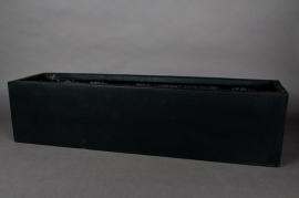 Polystone planter black 80x20x20cm