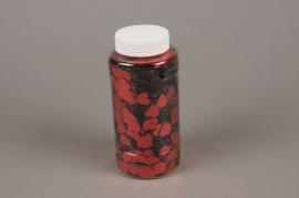 A001BW Pot 350g paillettes coeurs rouge 13mm