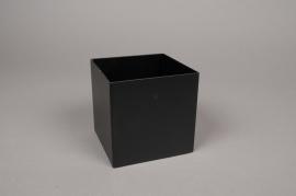 A001BL Pot en métal noir 10cm x 10cm H10cm