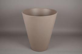 A108H7 Pot en plastique rotomoulé taupe D50cm H60cm