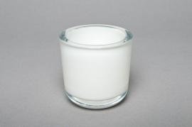 Glass jar white D7,5cm H7,5cm