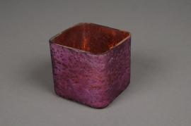 A027K0 Pot en verre cube violet vieilli 8x8cm H8cm