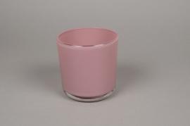 A018R4 Pot en verre rose D13cm H13cm