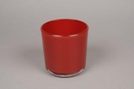 A014R4 Pot en verre rouge D13cm H13cm