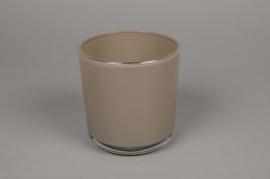 A016R4 Pot en verre taupe D13cm H13cm
