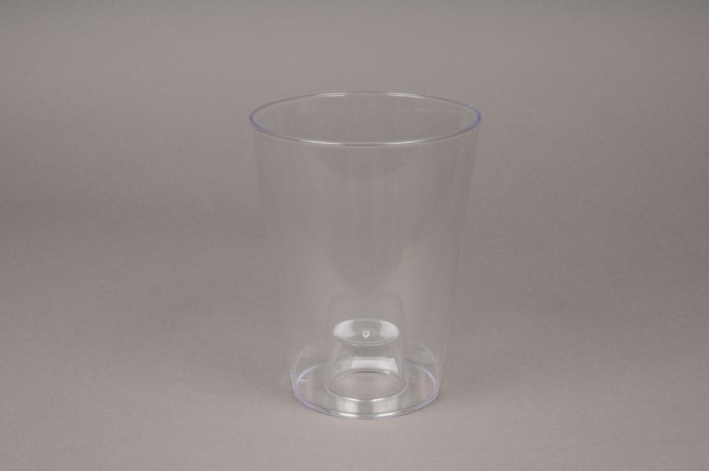 A019R2 Pot orchidée en plastique transparent D13cm H16.5cm