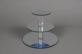 A029Q5 Présentoir miroir 3 plateaux D20cm H15.5cm