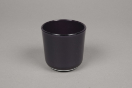 A019R4 Purple glass jar D8cm H7.5cm