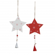 X014DQ Red and white wooden stars H23cm